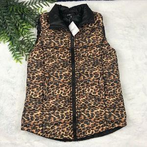 NWT Rue21 Cheetah puffer vest M